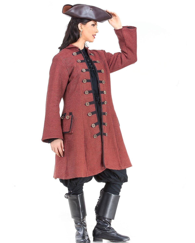 Women's Pirate Captain Jacquotte Delahaye Authentic Period Costume Coat - DeluxeAdultCostumes.com