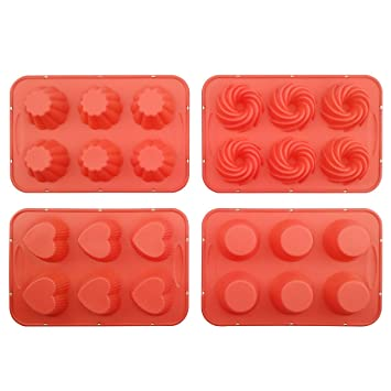 Moldes de silicona para pastele, Silivo 4 Pack 3 latas para tartas con forma de cuatro ...