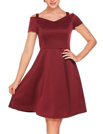 80c5fe5326 ACEVOG Women s Vintage 1950s Cold Shoulder Party Cocktail Wedding A-Line  Swing Midi Dress -