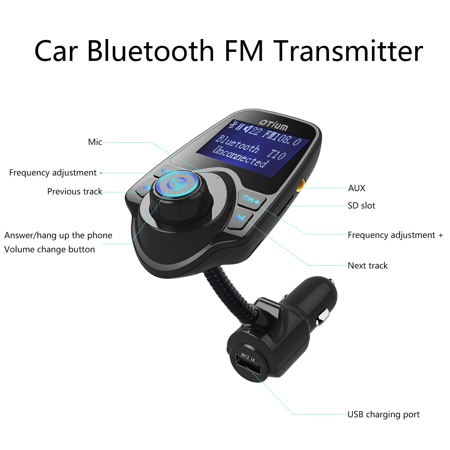 Fm Transmitter Otium Bluetooth Wireless Radio Adapter Tracking Schematics Audio Receiver Stereo Music Tuner Modulator Car Kit With Usb Charger Hands Free Calling