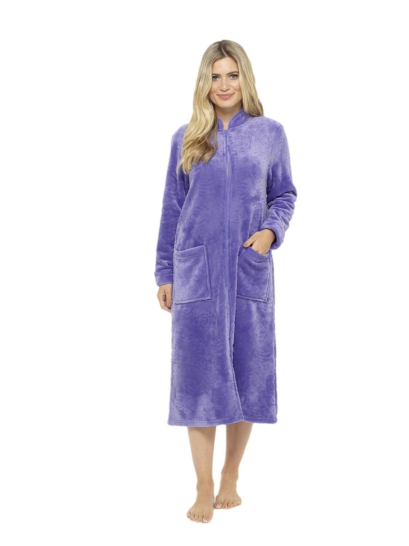 Lussuosa vestaglia in rilievo rosa soffice zip attraverso accappatoio termoattivo soft touch