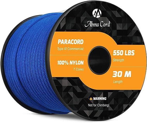 Abma Cord 550 Paracord 7 Hilos Internos Cordón de Paracaídas 100% Nylon - 550 LB de Resistencia a La Rotura