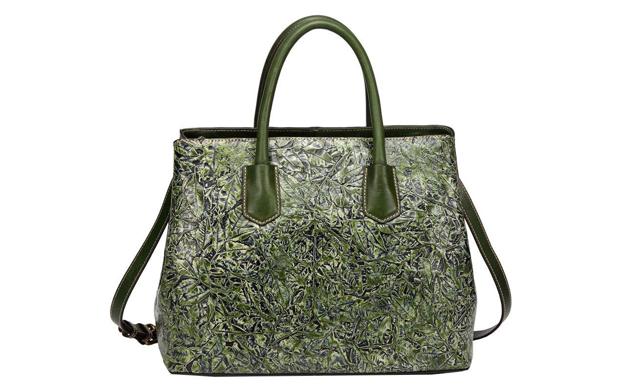 Jair Dark Green Retro Floral Embossed Genuine Leather Crossbody Tote Bags Handbags for Women