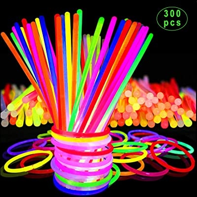 """Inifty Glow Sticks Bulk Party Favors 300 Pack - 8"""" in The Dark Party Supplies Light Sticks, Glow Necklaces Bracelets Kids (300 Pack): Toys & Games"""