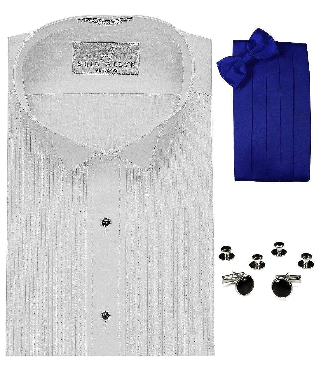 Camisa de Esmoquin con Cuello de ala, cornudo Azul Real, Pajarita ...
