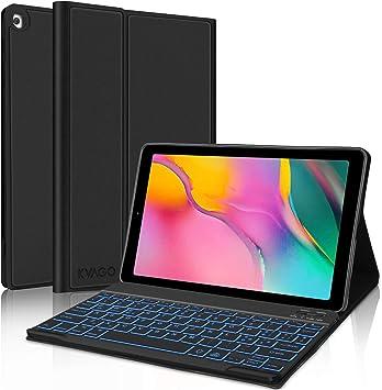 KVAGO Funda con teclado italiano para Samsung Galaxy Tab A 10.1 2019 (SM-T510 SM-T515), teclado Bluetooth retroiluminado con ultra fina, funda ...