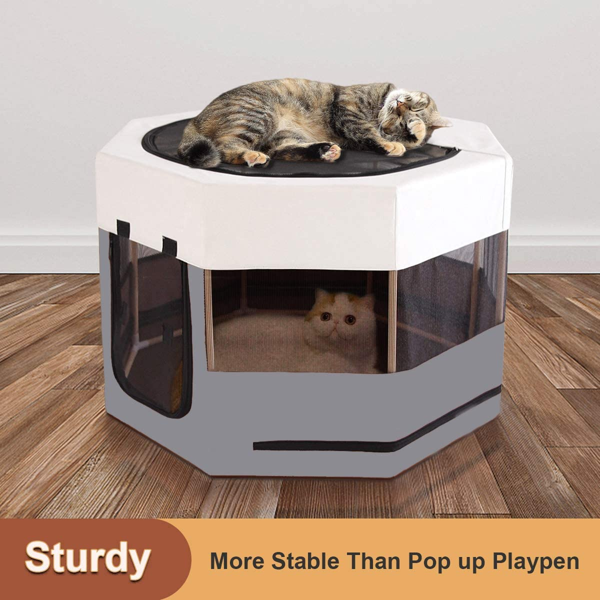 Meow/&Woof Cat Playpen for Small Animals Wood Frame Cats Cage Indoor Kitten Crate Dog Play Pens for Puppy Large Size Sturdy Struction Long Lasting Use
