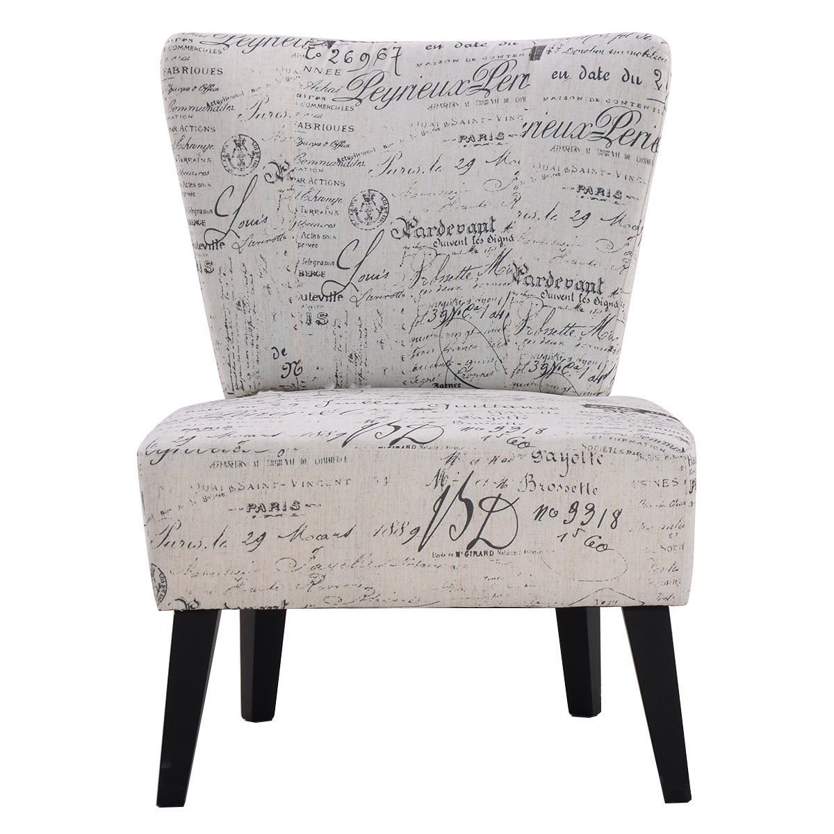 Giantex Armless Accent Chair Dining Chair Living Room Chair Home Furniture  with Upholstered Seat and Wood Legs