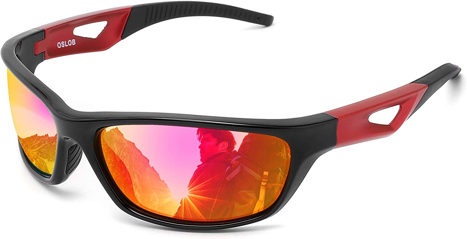 Red and black sport sunglasses with orange and purple reflective tint