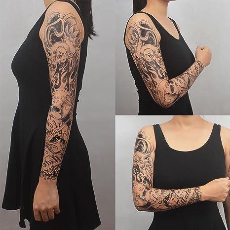 COKOHAPPY Temporales Tatuaje 6 Diferente hoja Brazo Cráneo ...