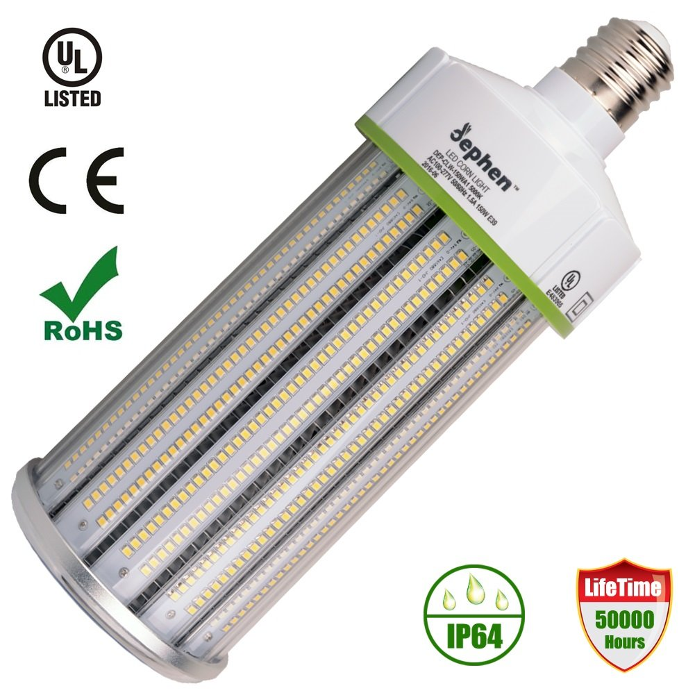 Dephen 150 Watt LED Corn Bulb 20250 Lumens(1000W Equivalent) Large Mogul E39 Base 5000K Daylight AC100-277V 360° Street/area Lighting Replacement for Metal Halide Bulb, HID, CFL, HPS(UL-Listed)