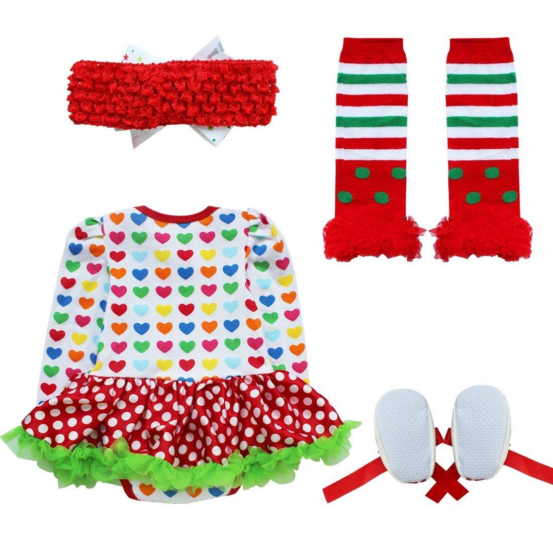 CHICTRY Mio Primo Natale 3-4 PCS Neonata Natale Completini Stampa Pagliaccetto Tutine Body//Tutu//Fascia//Scarpe//Calze Beb/è Impronte Babbo Natale Festa Regalo