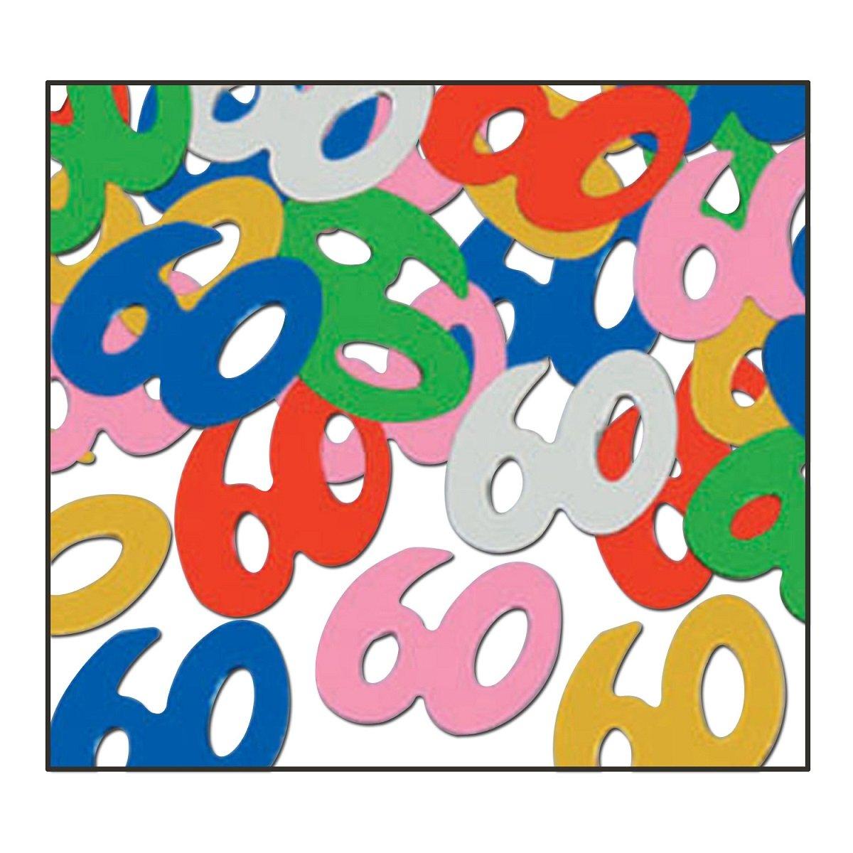 Party Central Club Pack of 12 Multi-Colored Fanci-Fetti 60'' Celebration Confetti Bags 0.5 oz.