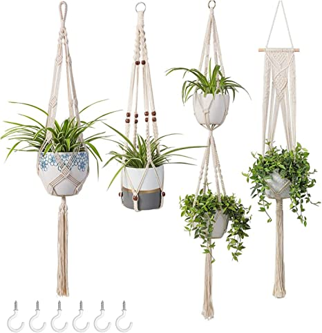 Amazon Com Tebery 4 Pack Macrame Plant Hangers Cotton Rope Hanging Planters Set Flower Pots Holder Stand With 6 Hooks For Indoor Outdoor Home Decor Home Kitchen