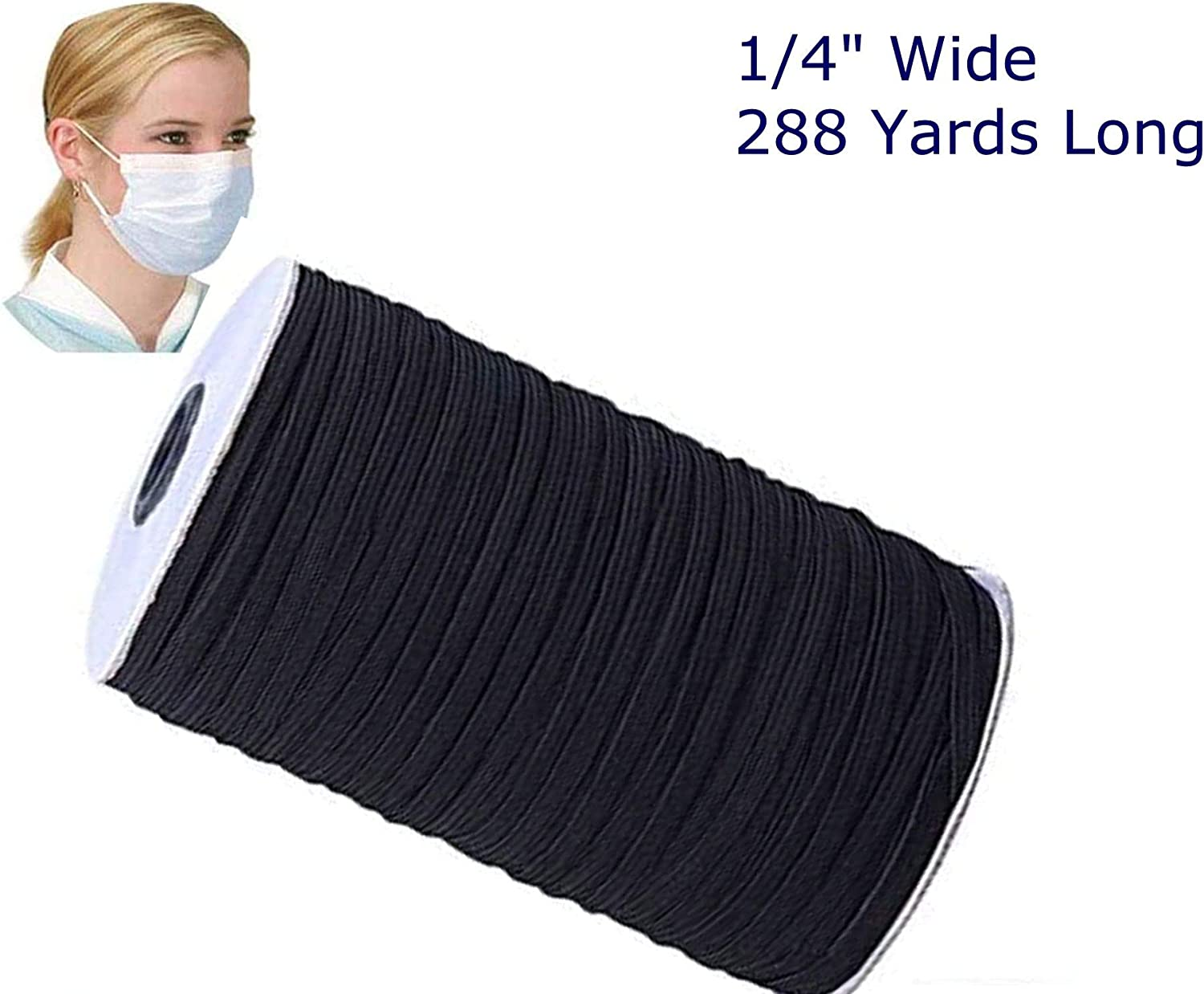 Knitted Elastic 1//4/'/' Wide 288 Yards BLACK