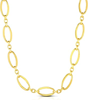 14k Yellow Gold 16 3.5mm Diamond Cut Oval Textured Link Chain with Lobster Clasp