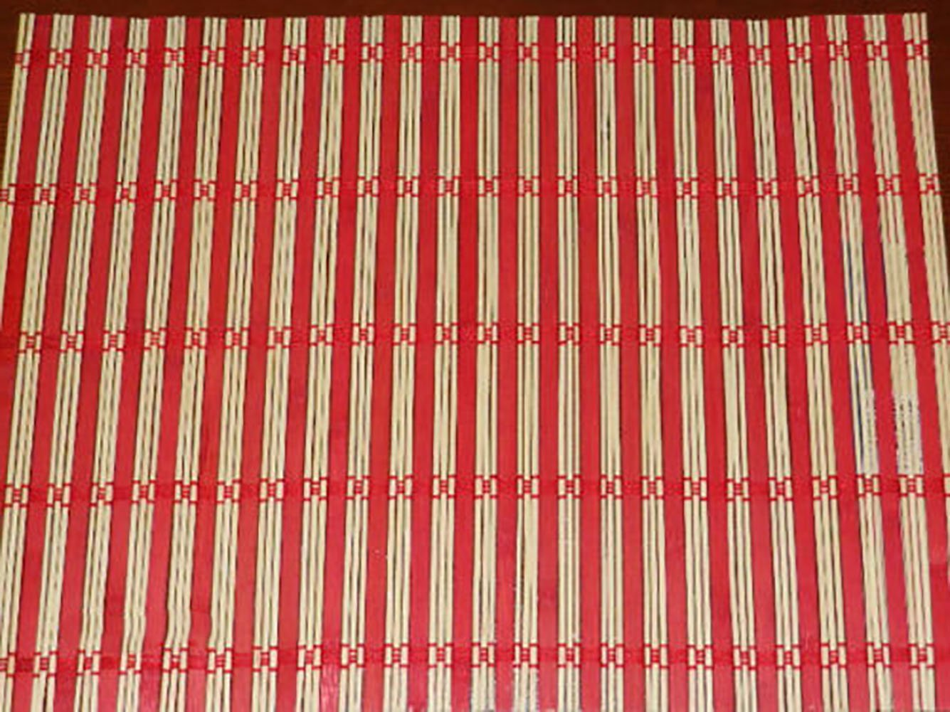 "Unique & Custom {12'' x 17'' Inch} Set Pack of 2 Rectangle ""Non-Slip Grip Texture"" Large Table Placemats Made of Genuine Bamboo Wood w/Cool Natural Striped Roll Up Design [Colorful Tan & Red]"