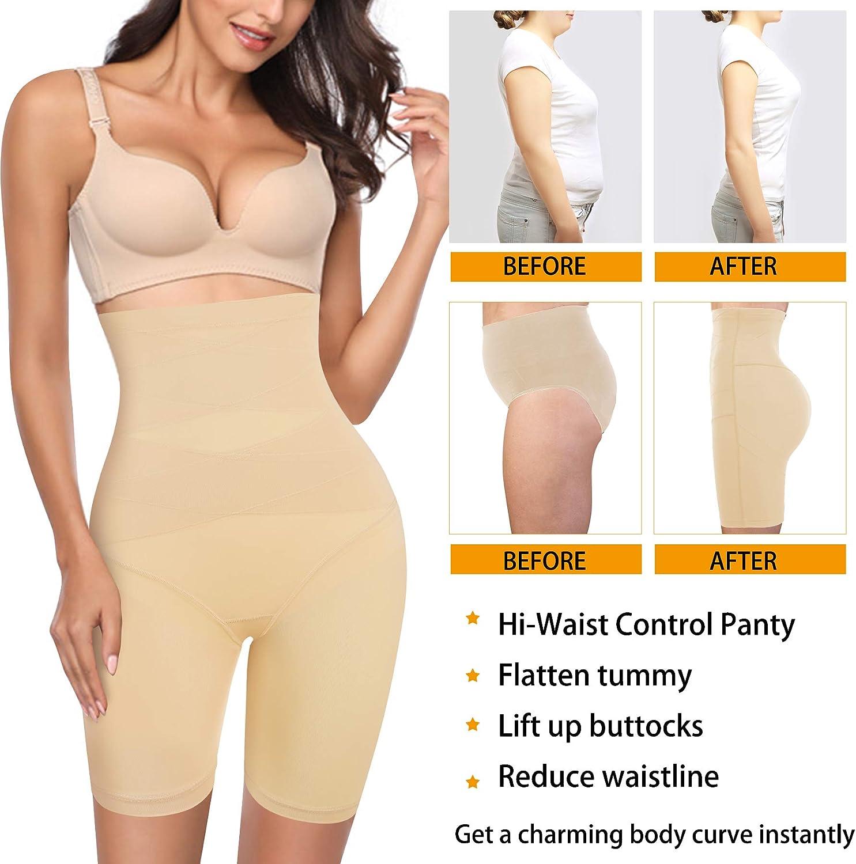 Nebility Waist Trainer for Women Butt Lifter Shapewear High Waist Body Shaper Shorts Thigh Slimmer Tummy Control Panty