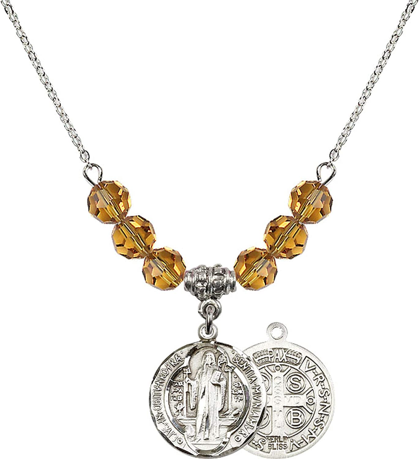 Bonyak Jewelry 18 Inch Rhodium Plated Necklace w// 6mm Yellow November Birth Month Stone Beads and Saint Benedict Charm