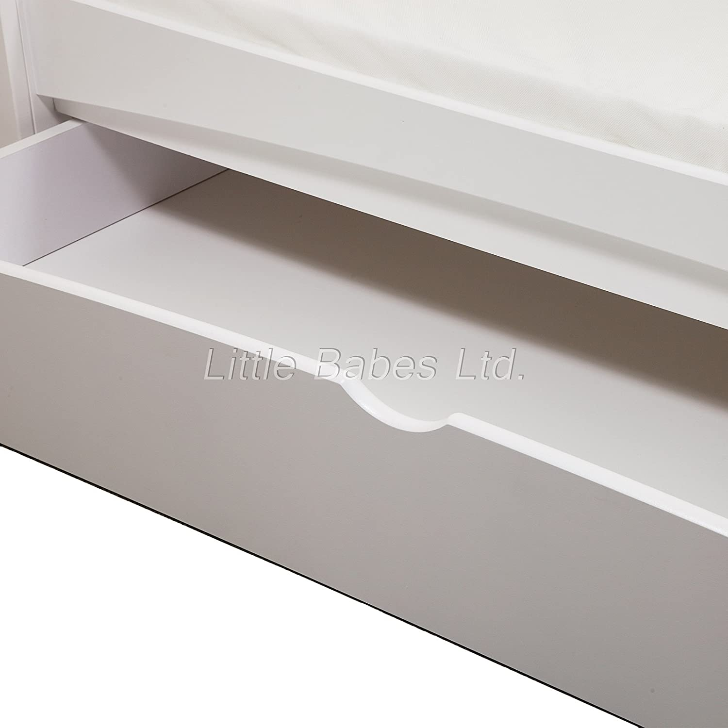 New Baby White Sleigh Mason Cot Bed with Drawer Only Converts to Junior Bed//Toodler Bed Require Mattress 140x70x10cm