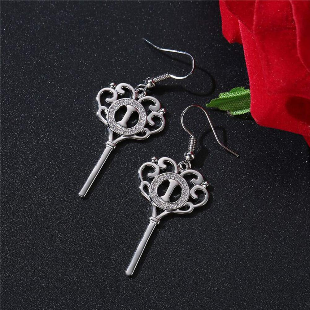 FenyDoller Key Earrings Creative Mosaic Rhinestone Earring Prevent Allergy Geometric Drop Shape Fashion