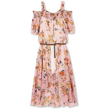 6dbf1fcfd6b3 Speechless Big Girls  Off The Shoulder Walk-Through Dress  Amazon.in   Clothing   Accessories