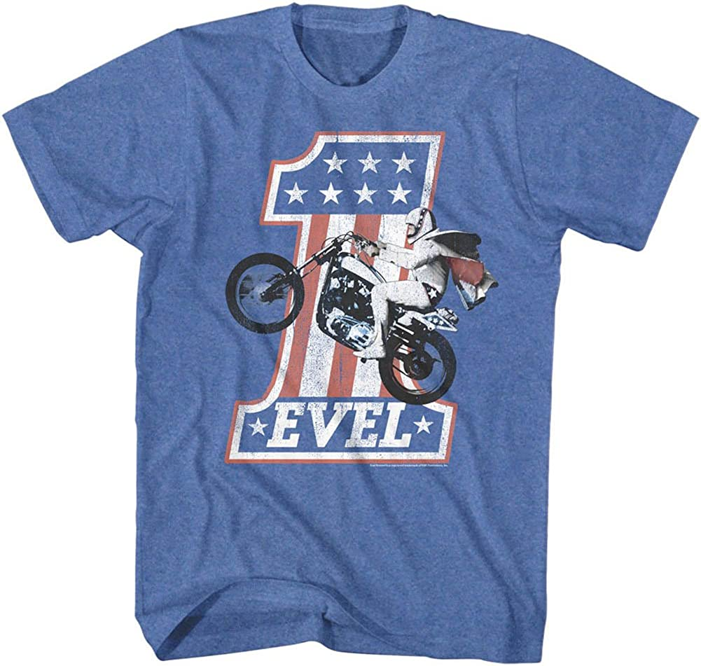 American Classics Evel Knievel Iconic Daredevil One Evel2 Retro Royal Heather Adult T-Shirt Tee