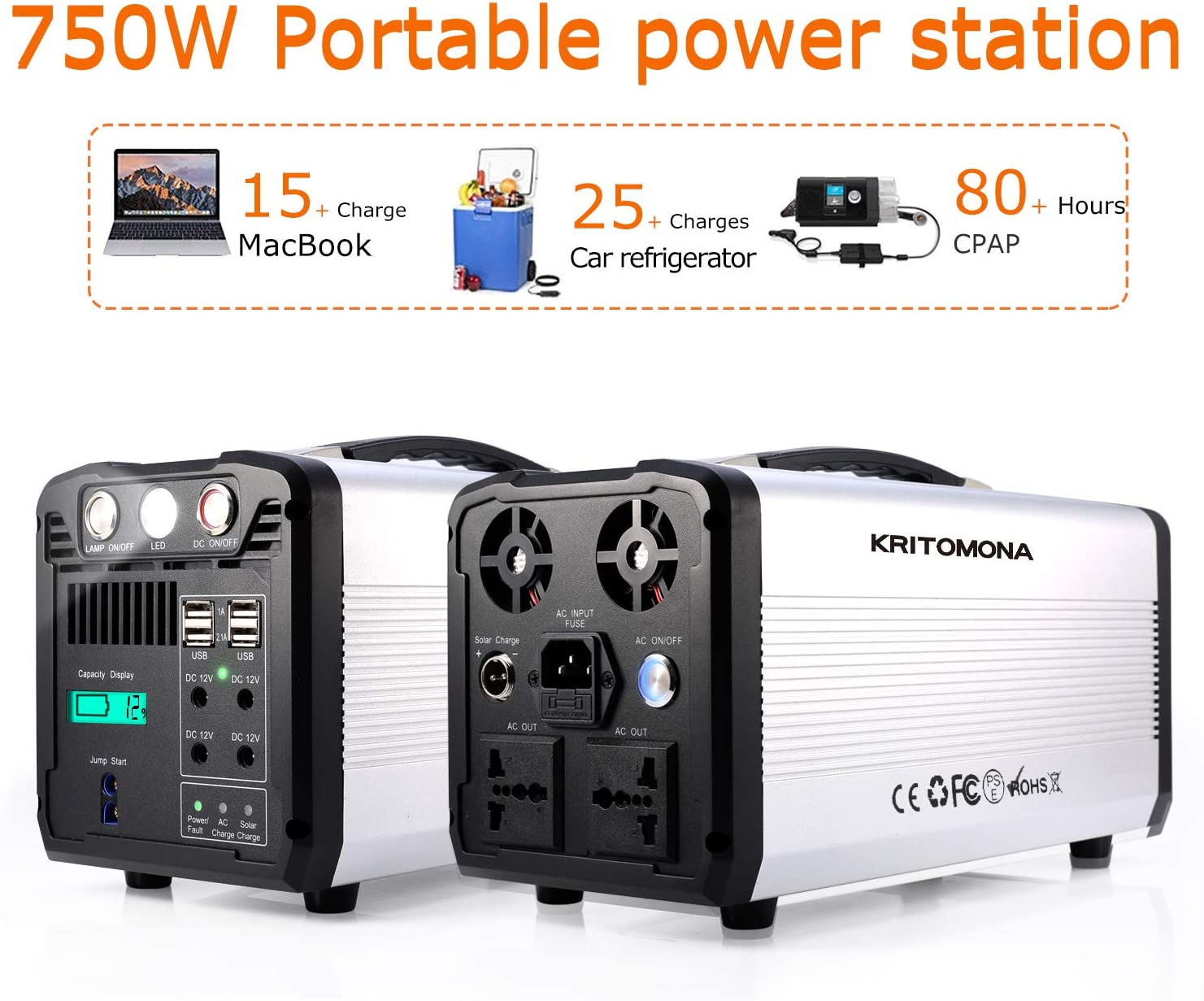 KRITOMONA Portable Power Station Explorer 750, 110V 750w 1000W Peak UPS Pure Sine Wave AC Outlet, 4 USB, 12V 4DC, LED Flashlight,Solar Generator for Outdoors CPAP Camping Travel Hunting Emergency
