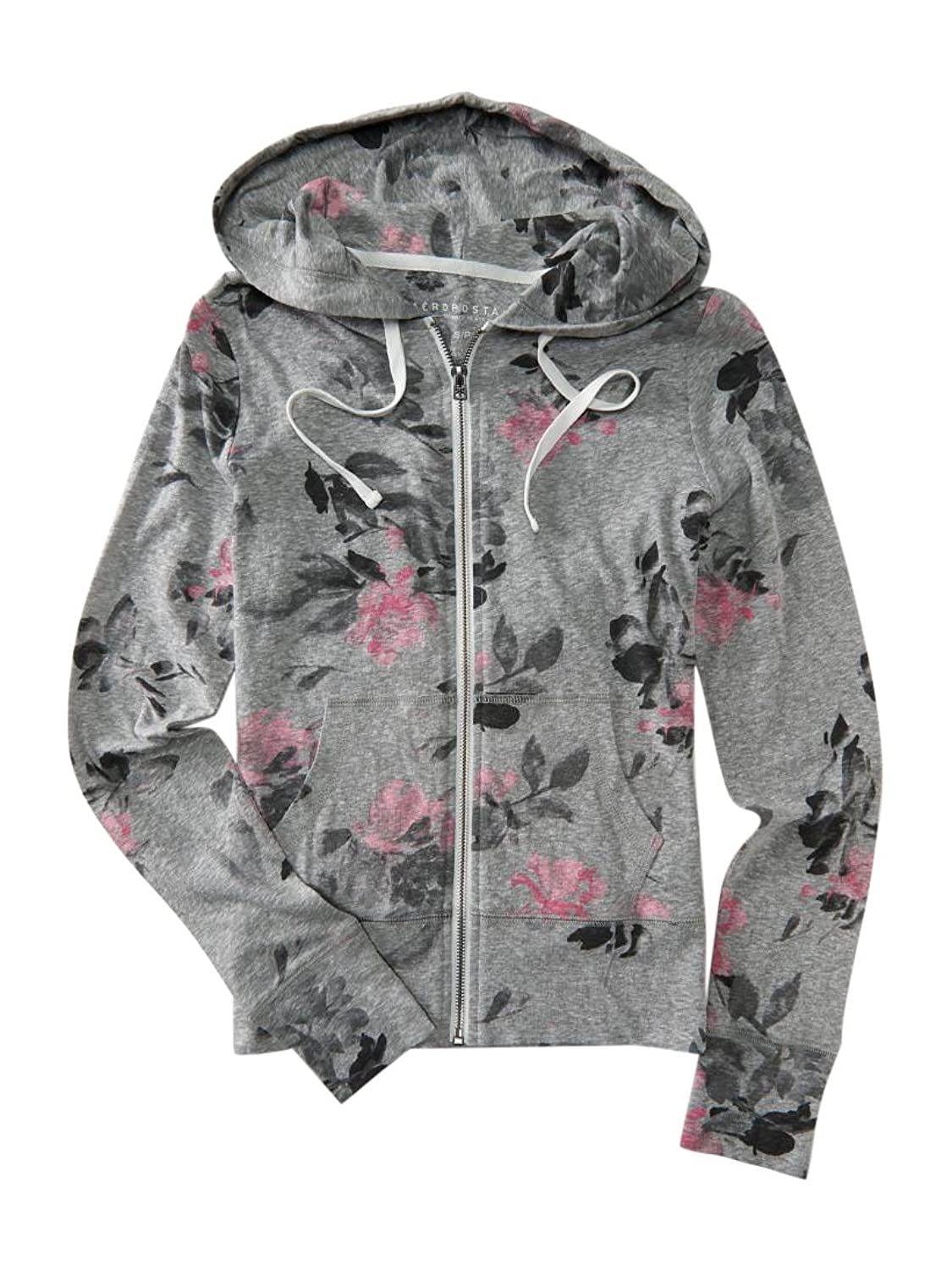 f7a5f2509 chic Aeropostale Women's Prince & Fox Roses Full-Zip Hoodie Gray ...