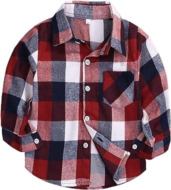 Camisa de Franela a Cuadros para niños y niñas, Manga Larga, con Botones, Color Rojo NB-6T - Rojo - 6-12 Meses: Amazon.es: Ropa y accesorios