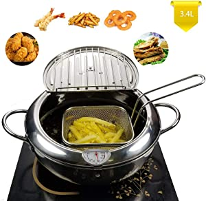 TIYOORTA Mini deep fry pan with basket draining rack Stainless steel Fryer pot with Thermometer for Chicken French Fries Fish onion ring