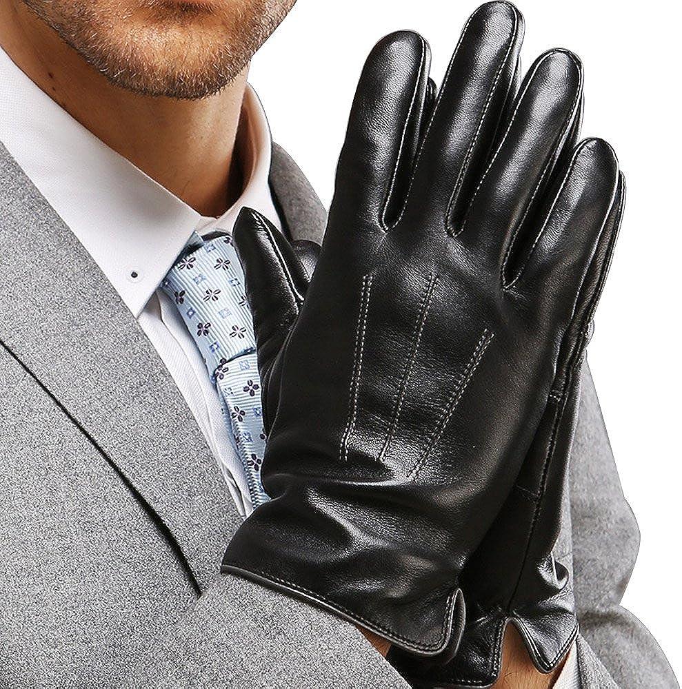 Gants de Sport Hommes Gants en Cuir dhiver pour Hommes Gants en Cuir Nappa Italien /à /écran Tactile Gants Chauds Mitaines Cyclistes /épaisses Gants en Cuir dAffaires