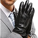 Harrms Best Touchscreen Italian Nappa Genuine Leather Gloves for men's Texting Driving Cashmere Lining