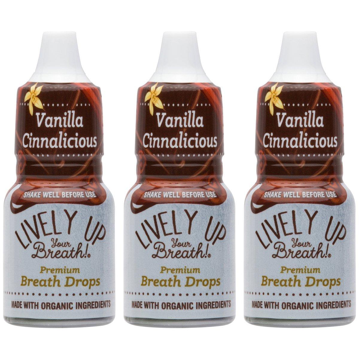 Lively Up Your Breath Premium Breath Freshener Liquid Drops with Organic Ingredients - Vanilla Cinnalicious 3 Pack