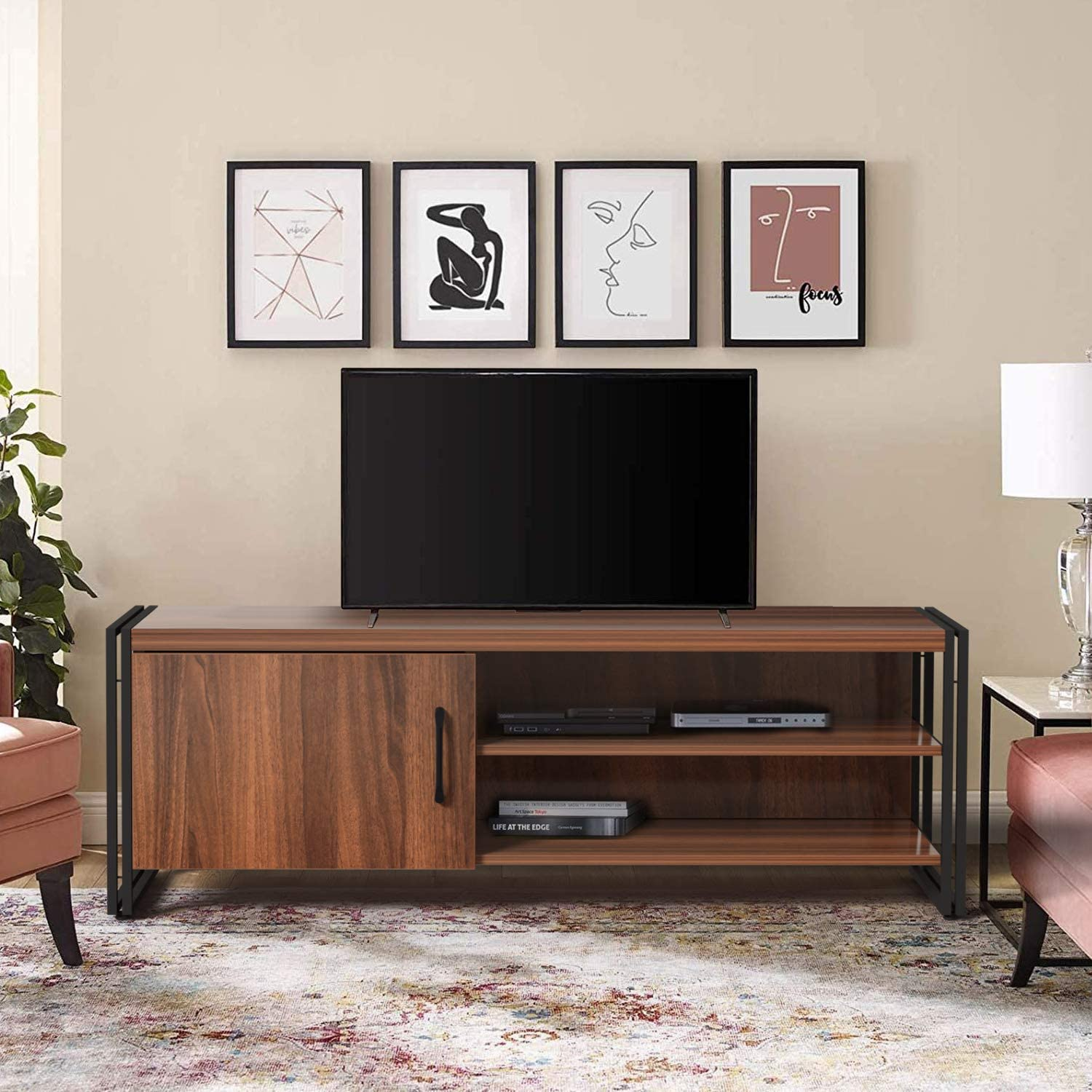 Amazon Com Amzdeal Tv Stand Cabinet For Tvs Up To 50 Inch Wood
