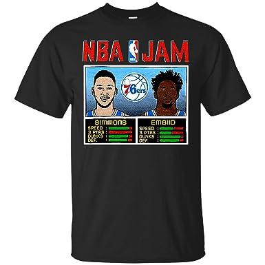 db19afb4939a NBA Jam 76ers Simmons and Embiid Philadelphia Basketball Arcade Video Game  Players Retro T Shirt Hoodie