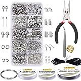 EuTengHao - Kit de suministros para hacer joyas con alicates, alambres abiertos, cierres de langosta para collar, cinta, acce