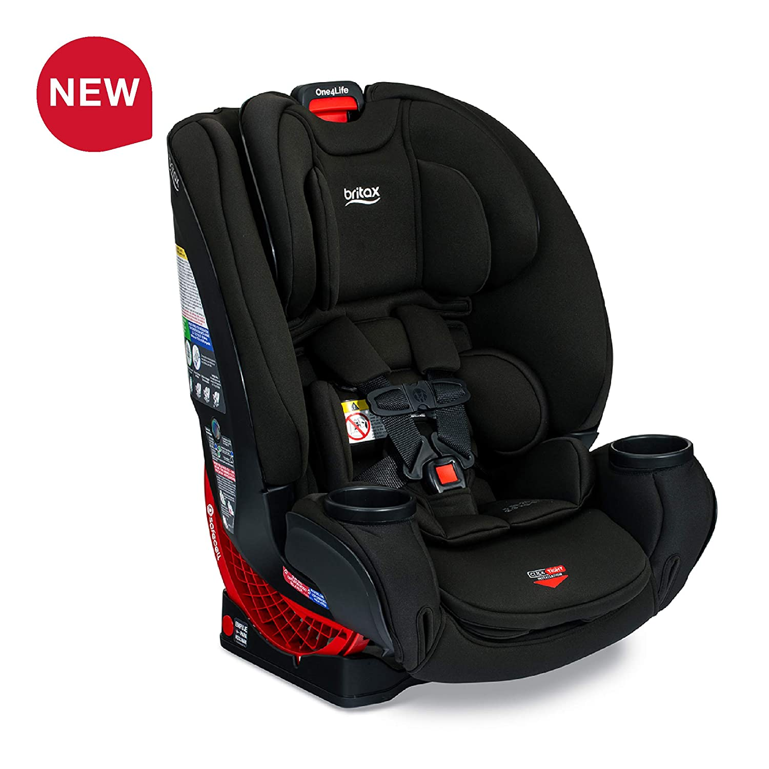 Britax One4Life ClickTight All-In-One Car Seat – 10 Years of Use – Infant, Convertible, Booster – 5 to 120 pounds - SafeWash Fabric, Eclipse Black