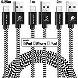 【最新版 3本セット】 iPhone 充電ケーブル ライトニングケーブル 【0.25M+1M+2M Apple/MFi認証】 高速データ転送 急速充電 USB同期&充電 高耐久 断線防止 Lightning ケーブル ナイロン編み iPhone XS/XS Max/XR/X/8/8Plus/7/7 Plus/6s/6s Plus/iPad/iPod各種対応