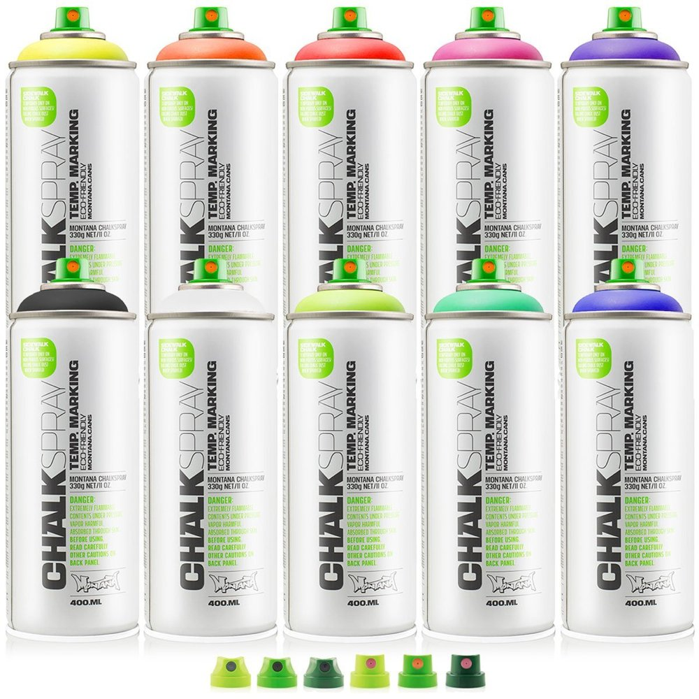 Montana Chalk Spray 10 Colors W/Cap Set by Montana