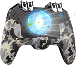 """Mobile Game Controller 4 Trigger with Cooling Fan for PUBG/Call of Duty/Fotnite [6 Finger Operation] L1R1 L2R2 Gaming Grip Gamepad Mobile Controller Trigger for 4.7-6.5"""" iOS Android Phone"""