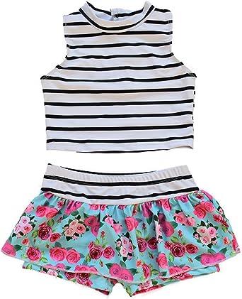JELEUON Baby Kids Little Girls One Pieces Fruit Print Sleeveless Swimdress Swimsuit with Caps