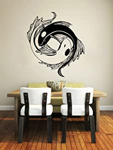 Wall Decal Vinyl Sticker Decals Koi Fish Yin Yang Symbol Geometric Floral Patterns Wall Stickers Home Decor Art Bedroom Design Interior Mural SV6168