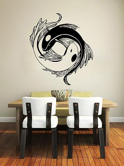 c0443c8928 Amazon.com: Wall Decal Vinyl Sticker Decals Koi Fish Yin Yang Symbol  Geometric Floral Patterns Wall Stickers Home Decor Art Bedroom Design  Interior Mural: ...