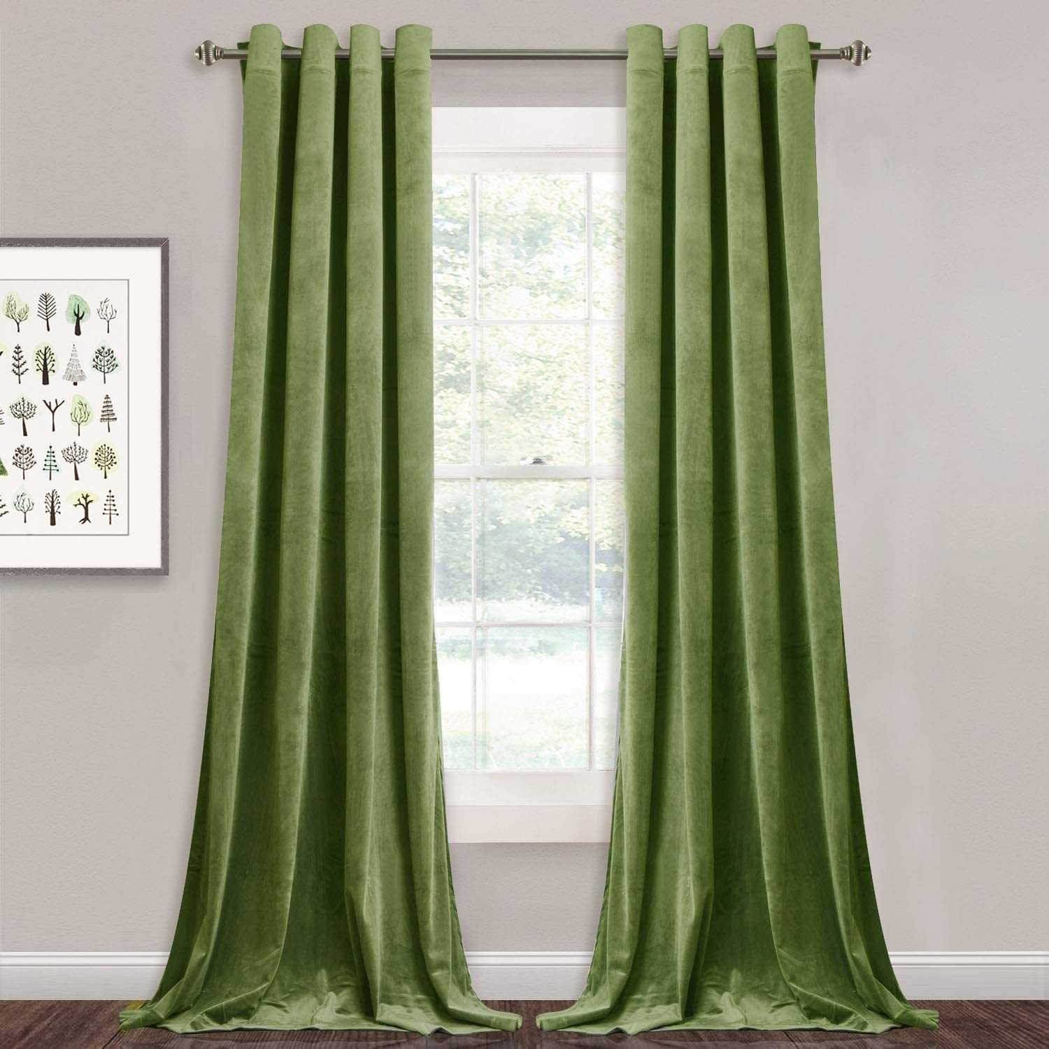 StangH Velvet Curtains 108 inches Long - Feel Soft Velvet Fabric Grommet Light Blocking Curtain Panels Extra Long Wall Backdrops Decoration for Living Room Hall, Olive Green, W52 x L108, 2 Panels