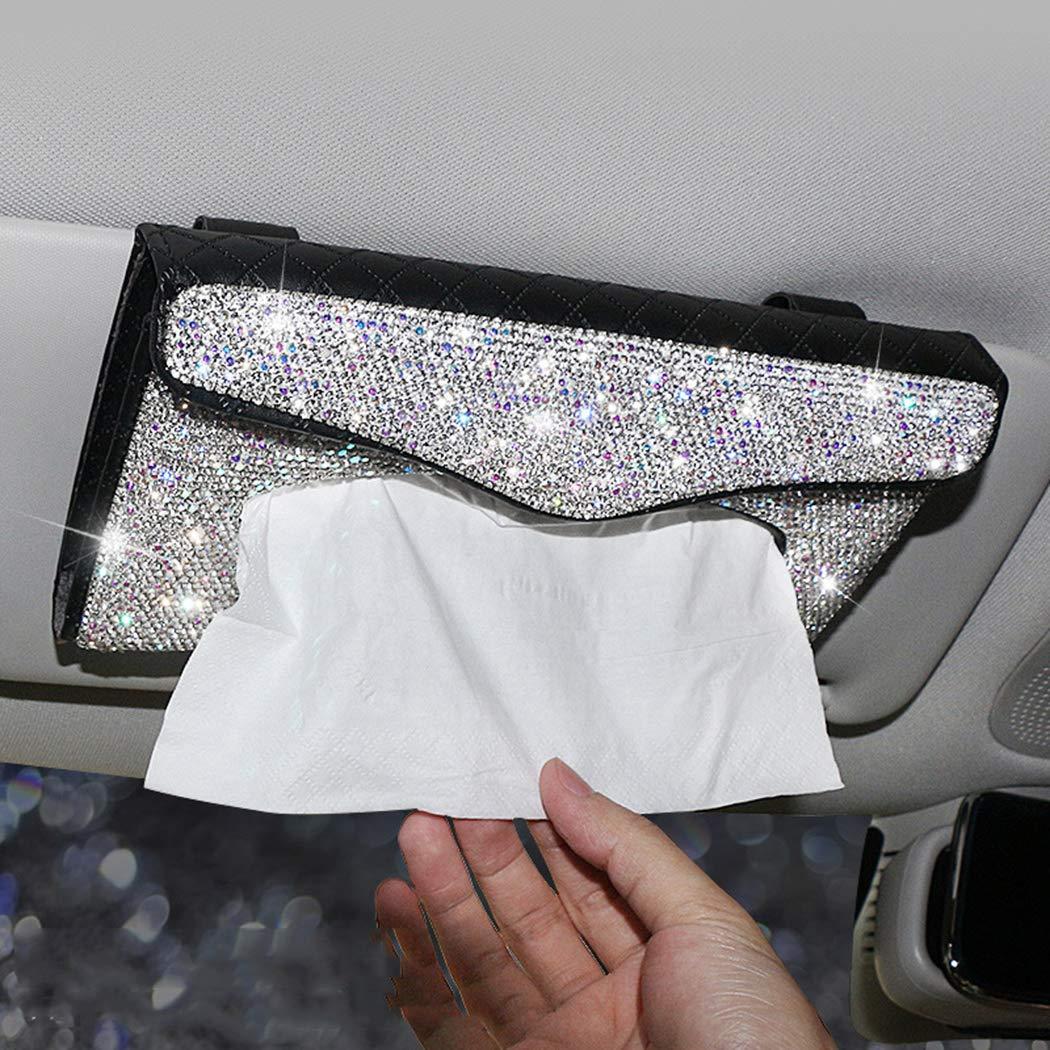 U&M Bling Bling Car Sun Visor Tissue Box Holder Pure Hand-Made Sparkling Crystal Auto Napkin Holder PU Leather Backseat Tissue Case for Women