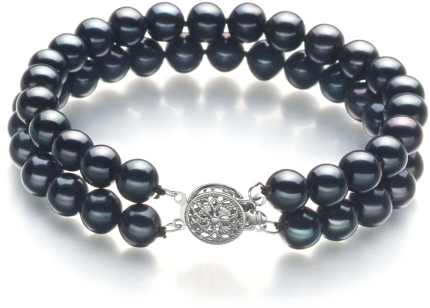 Henrike Black 6-7mm Double Strand AA Quality Freshwater Cultured Pearl Bracelet-8.5 in length