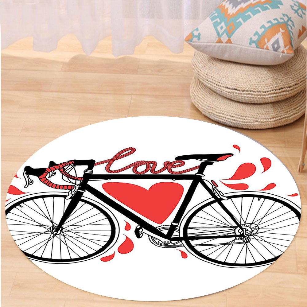 VROSELV Custom carpetValentines Day Love Decor Bike Illustration With Love Heart And Drops Modern Hipster Fashion Retro Art Bedroom Living Room Dorm Decor Round 72 inches