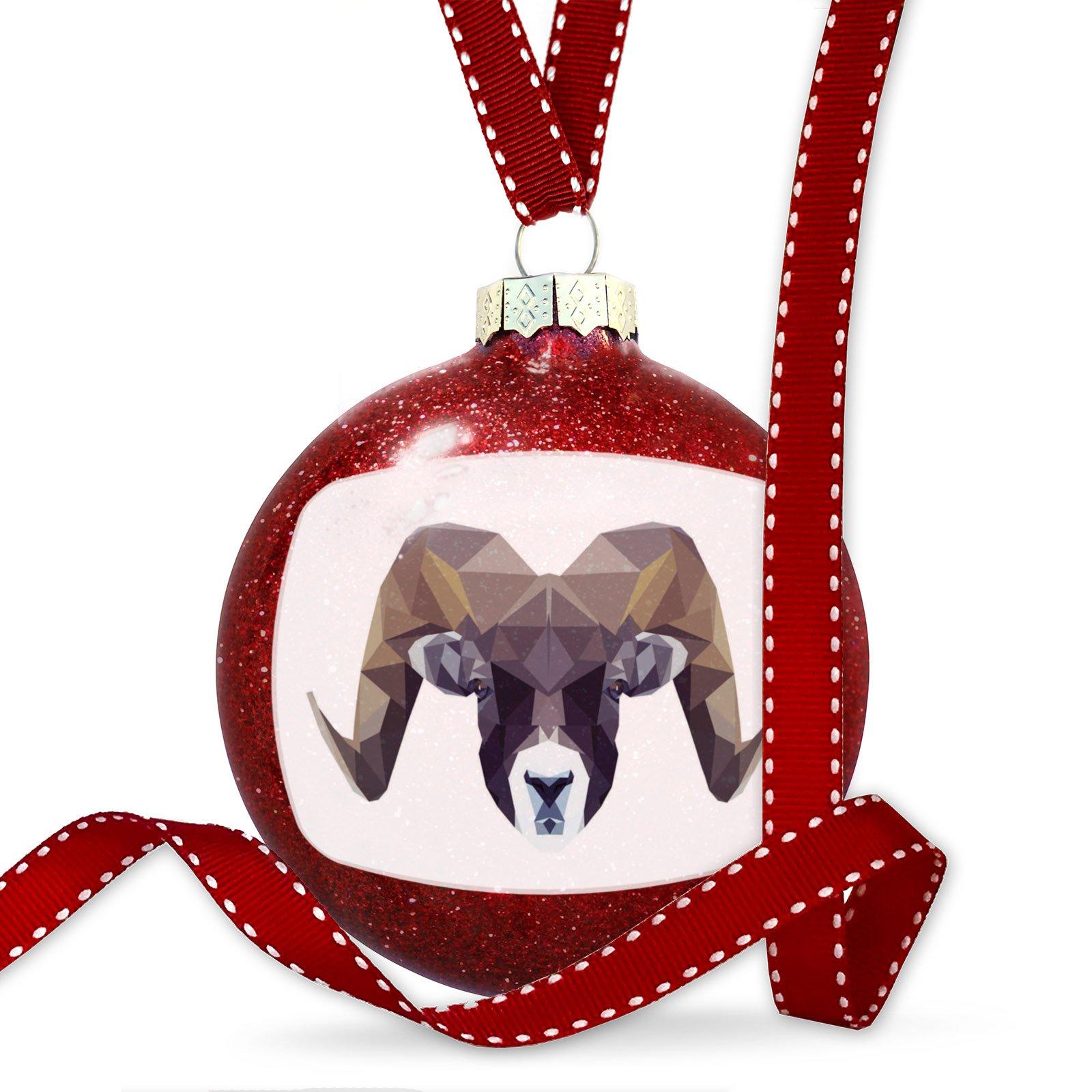 Christmas Decoration Geometric Animal art Ram Ornament by NEONBLOND