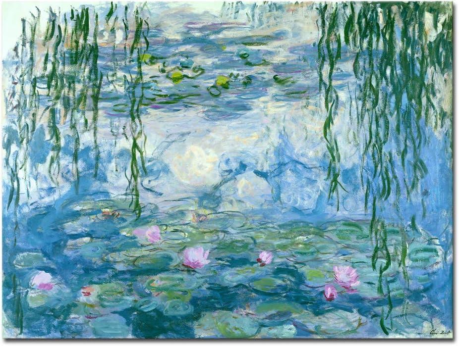 Wieco Art agua lirios de Claude Monet las pinturas al óleo flores reproducción Giclée moderno lienzo impresiones arte paisaje fotos impresas EN Lienzo para el hogar cocina decoración mon0023–3040